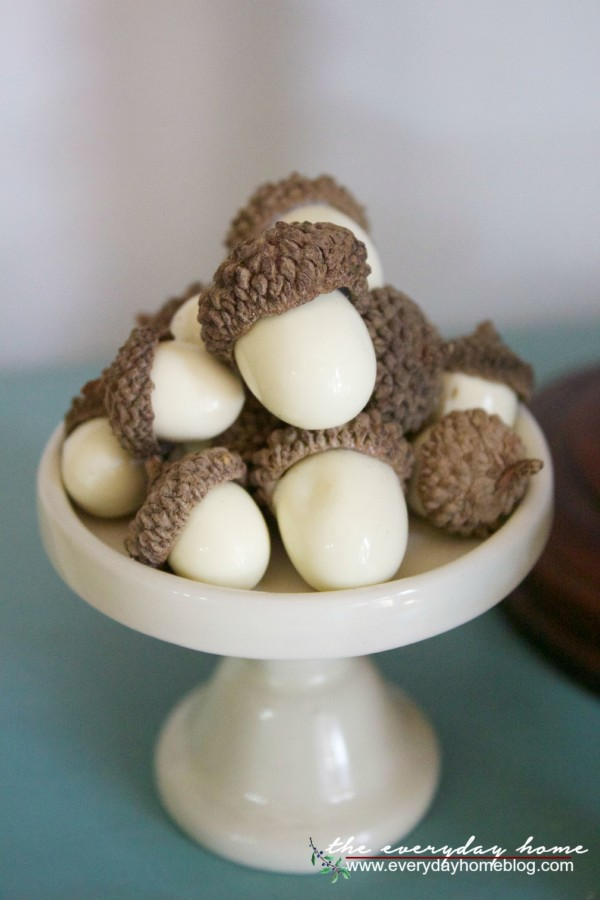 Mini Acorns on a Cupcake Stand | The Everyday Home | www.everydayhomeblog.com