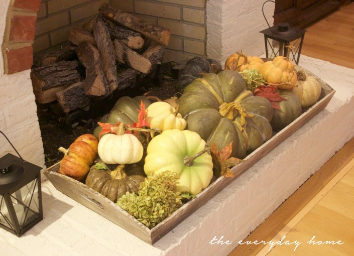 A Wood Tray of Pumpkins on the Hearth | Fall Tour | The Everyday Home | www.everydayhomeblog.com