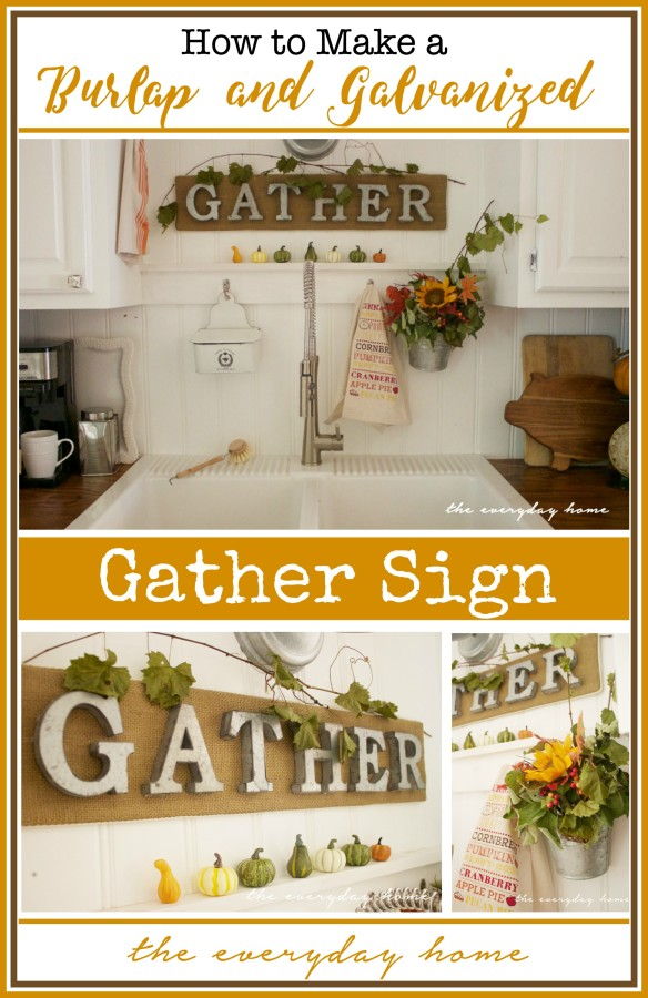 Burlap and Galvanized Letter Sign | Easy DIY Project | The Everyday Home | www.everydayhomeblog.com