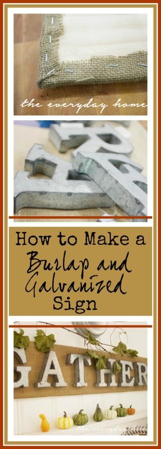 DIY Burlap & Galvanized Sign | The Everyday Home | www.everydayhomeblog.com