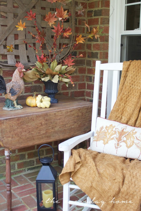 Fall Porch Vignette with Faux Fall Branches | The Everyday Home | www.evevrydayhomeblog.com