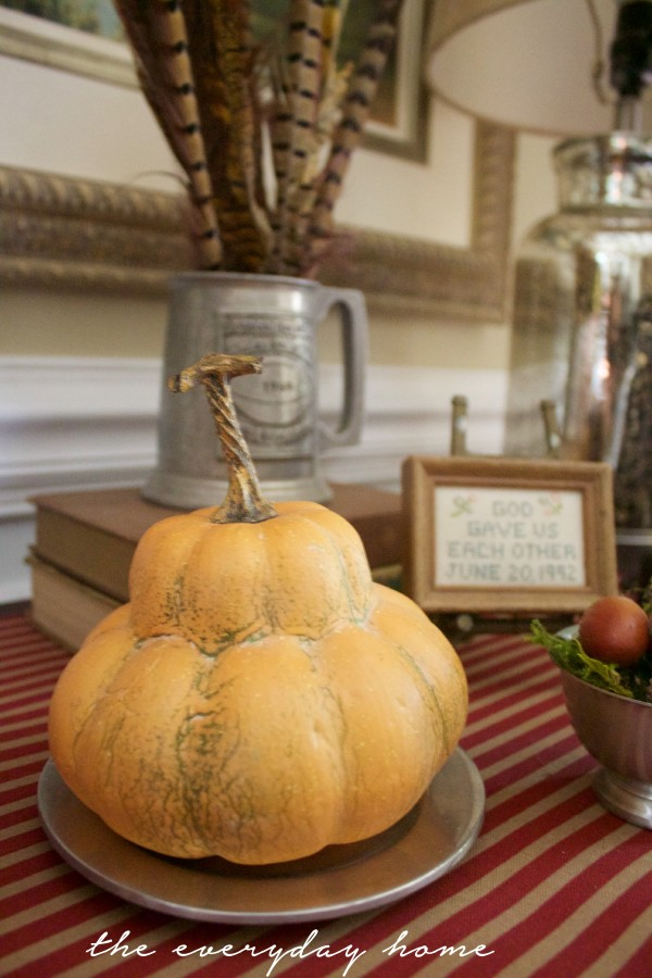 Heirloom Gourd on Silver Plate | Traditional Fall Sideboard Vignette | The Everyday Home | www.everydayhomeblog.com