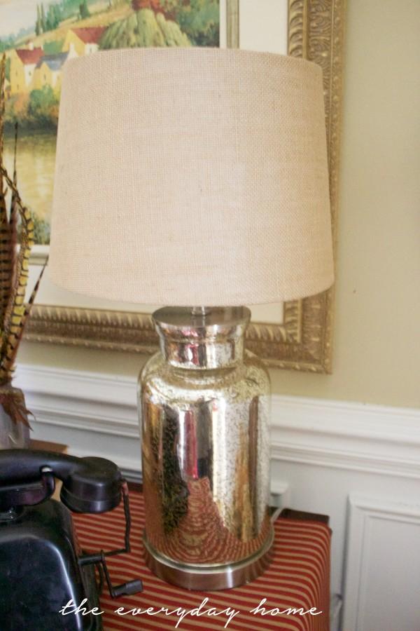 Mercury Glass Lamp and Burlap Shade | The Everyday Home | www.everydayhomeblog.com