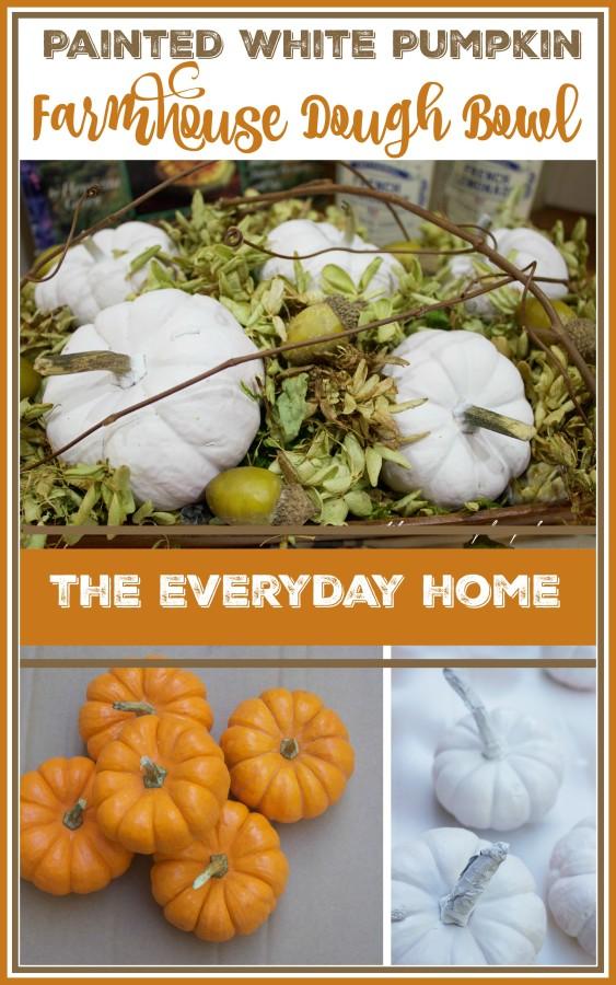 Painted White Pumpkin Farmhouse Dough Bowl | The Everyday Home | www.evevrydayhomeblog.com