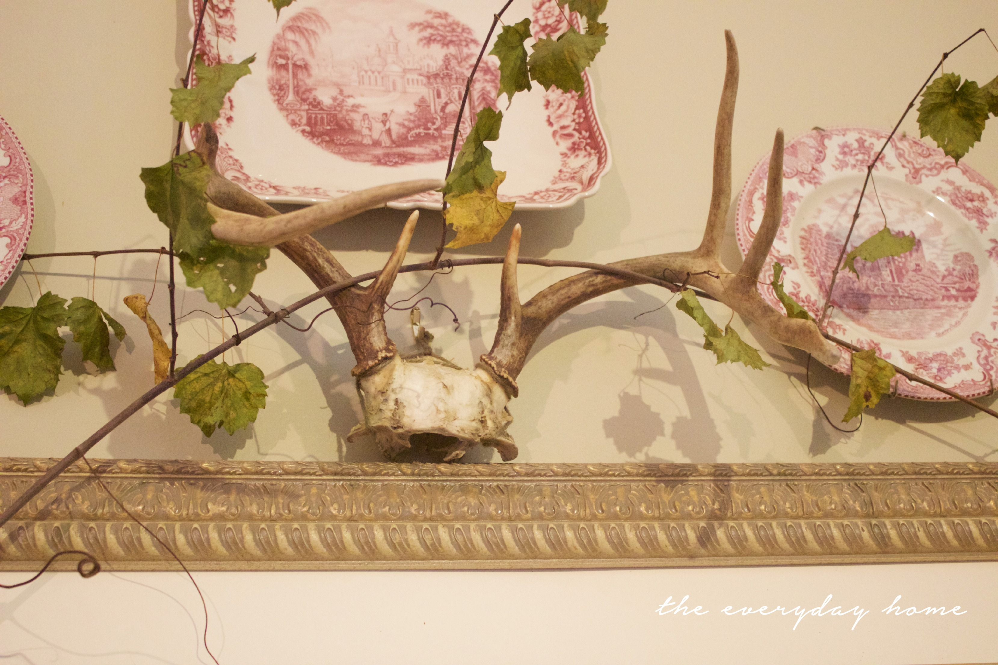 Stag Horns | Traditional Fall Sideboard Vignette | The Everyday Home | www.everydayhomeblog.com