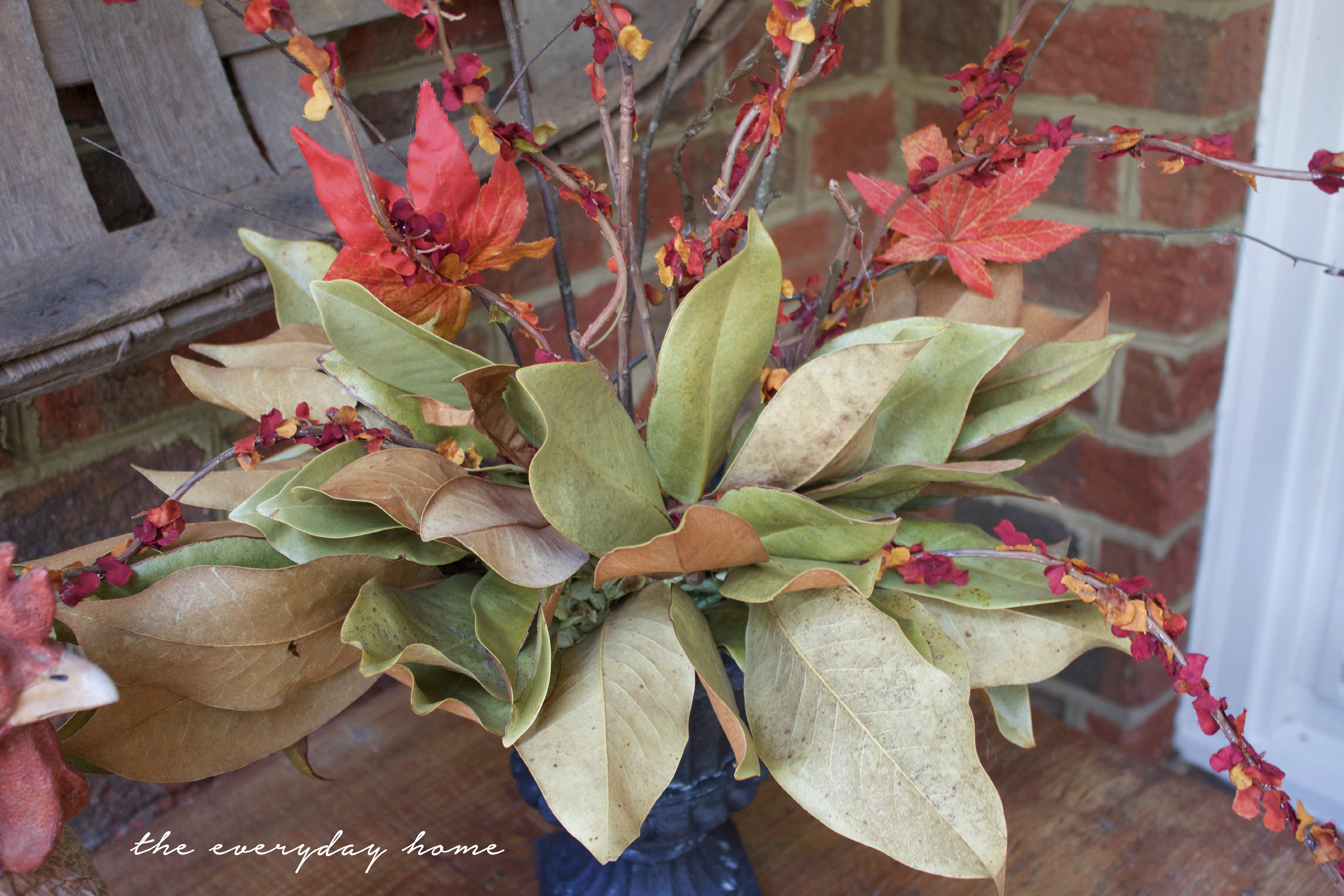 Using Faux Fall Branches in an Arrangement with Dried Magnolia Leaves | The Everyday Home | www.everydayhomeblog.com