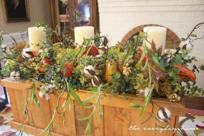 Wooden Box Fall Arrangement   Fall Tour   The Everyday Home   www.everydayhomeblog.com