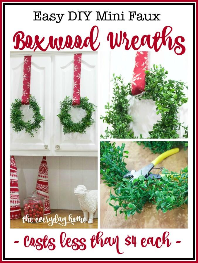 DIY Faux Mini Boxwood Wreaths | The Everyday Home Blog | www.everydayhomeblog.com