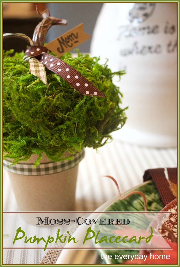 How to Make a Moss Covered Pumpkin Placecard | The Everyday Home | www.everydayhomeblog.com