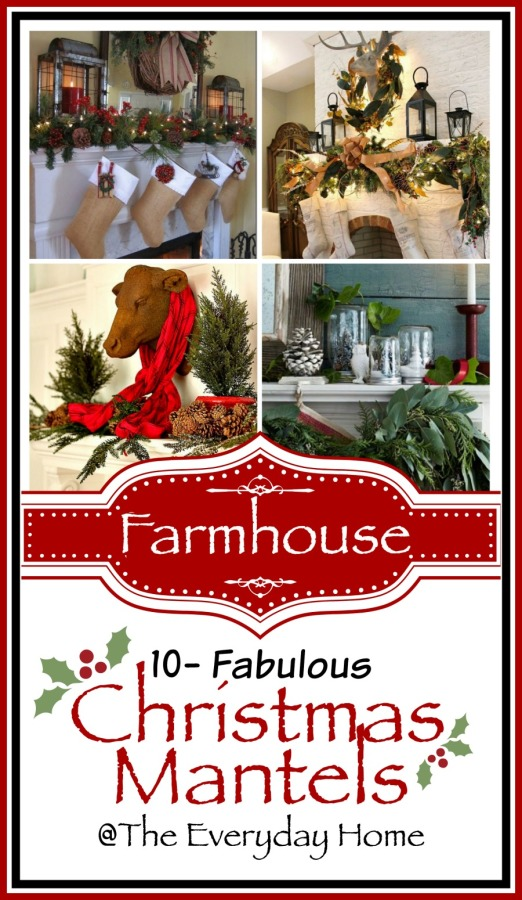 10 Amazing Farmhouse Style Christmas Mantels   The Everyday Home   www.everydayhomeblog.com