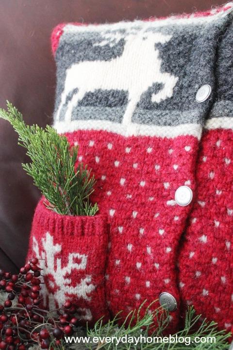 How to Make a Goodwill Sweater Christmas Pillow   The Everyday Home   www.everdayhomeblog.com