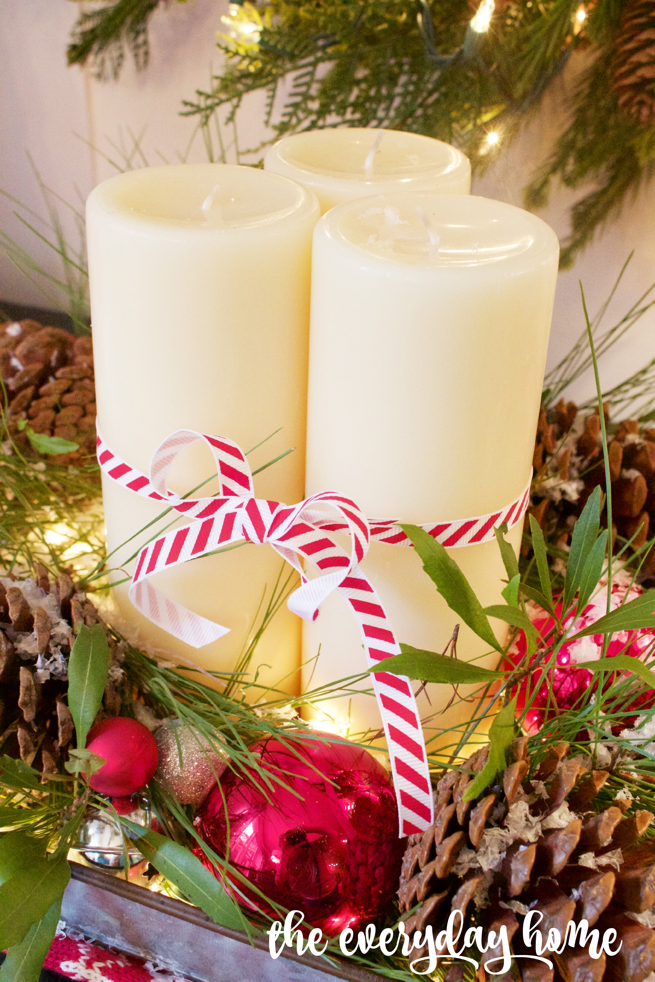 Trio of Candles with Candy Cane Ribbon | The Everyday Home | www.everydayhomeblog.com