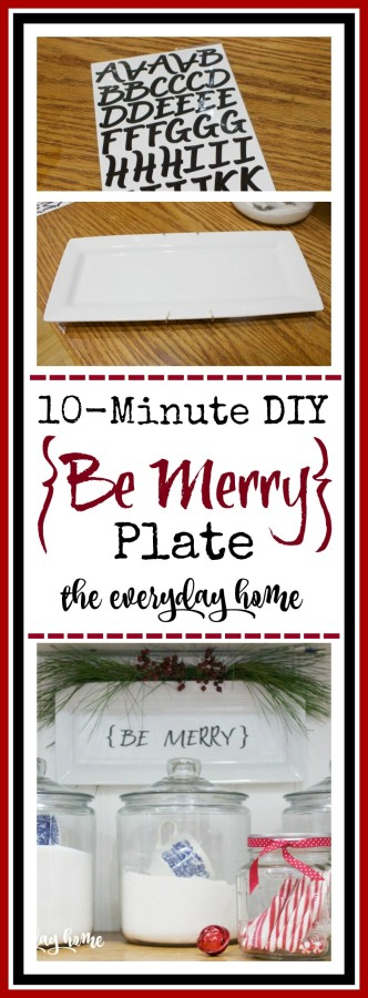 10-Min Project Be Merry Plate   The Everyday Home   www.everydayhomeblog.com