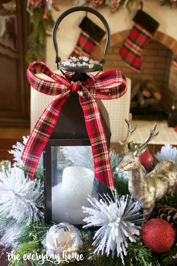 Black Lantern with Tartan Plaid Bow | 2015 Christmas Dining Room Tour | The Everyday Home | www.everydayhomeblog.com