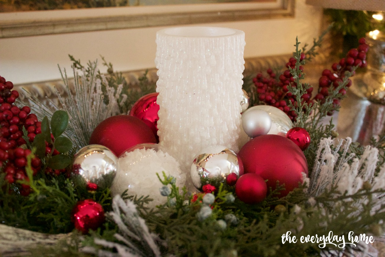 Christmas Candle Centerpiece | 2015 Christmas Dining Room Tour | The Everyday Home | www.everydayhomeblog.com