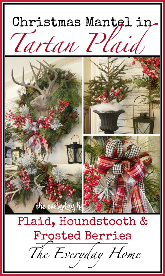 tartan plaid and berry christmas mantel - Tartan Plaid Christmas Decor