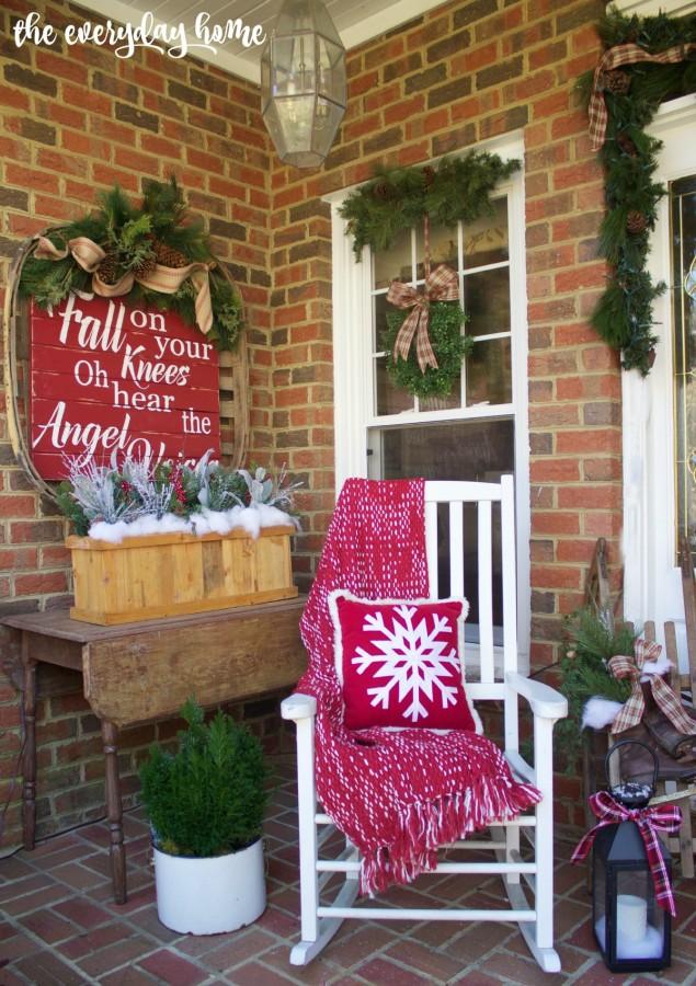 Farmhouse Style Front Porch   2015 Christmas Home Tour   The Everyday Home   www.everydayhomeblog.com