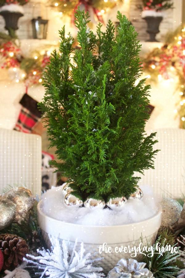 Green Cedar Tree | 2015 Christmas Dining Room | The Everyday Home | www.everydayhomeblog.com