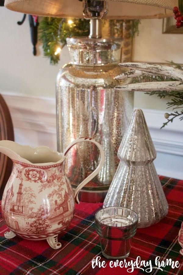Mercury Glass Accessories | 2015 Christmas Dining Room Tour | The Everyday Home | www.everydayhomeblog.com