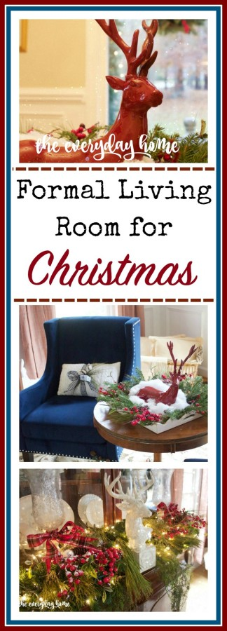 Navy and Red Christmas Living Room | The Everyday Home | www.everydayhomeblog.com