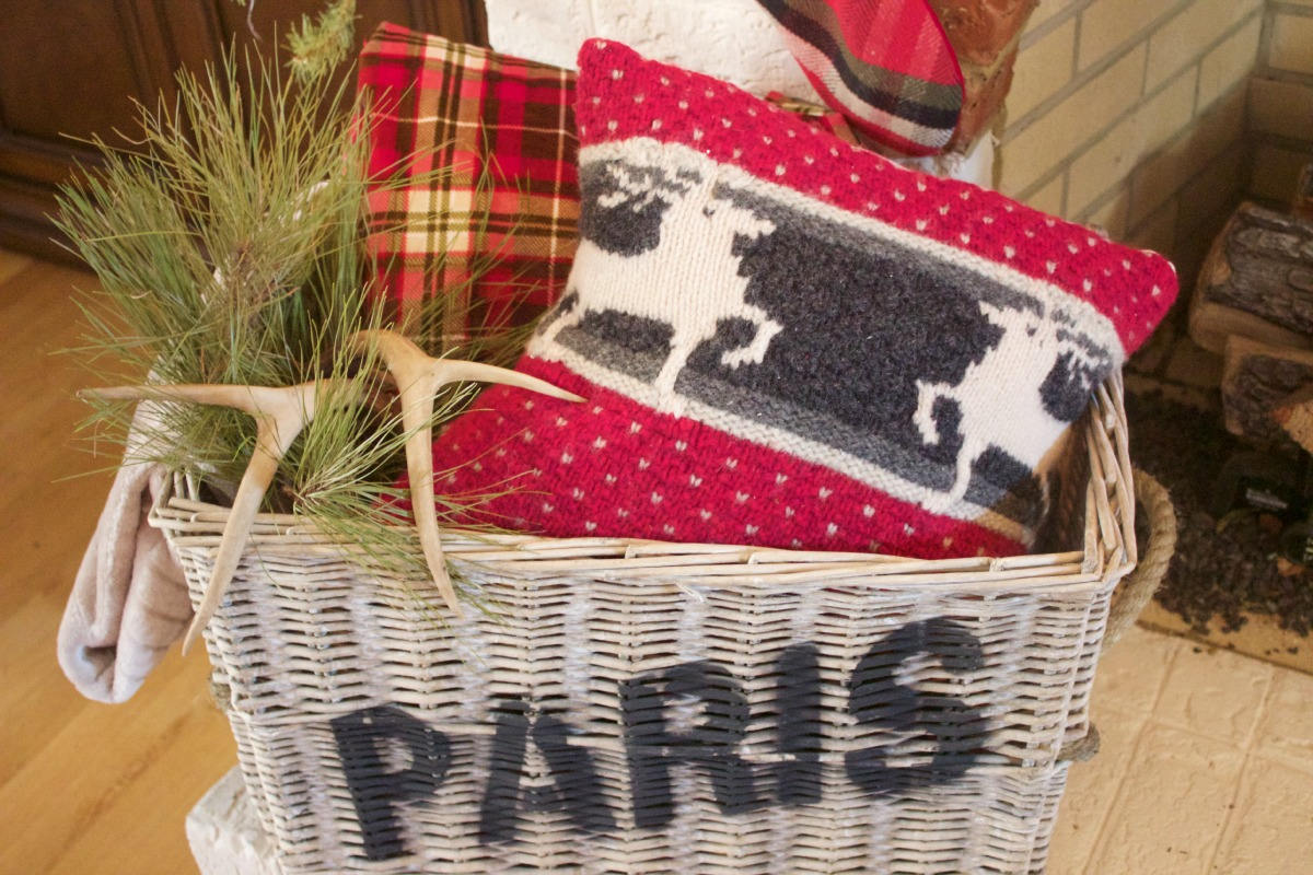 Paris Basket with Sweater Pillow | 2015 Christmas Dining Room Tour | The Everyday Home | www.everydayhomeblog.com