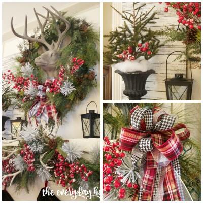 Tartan Plaid and Berry Christmas Mantel