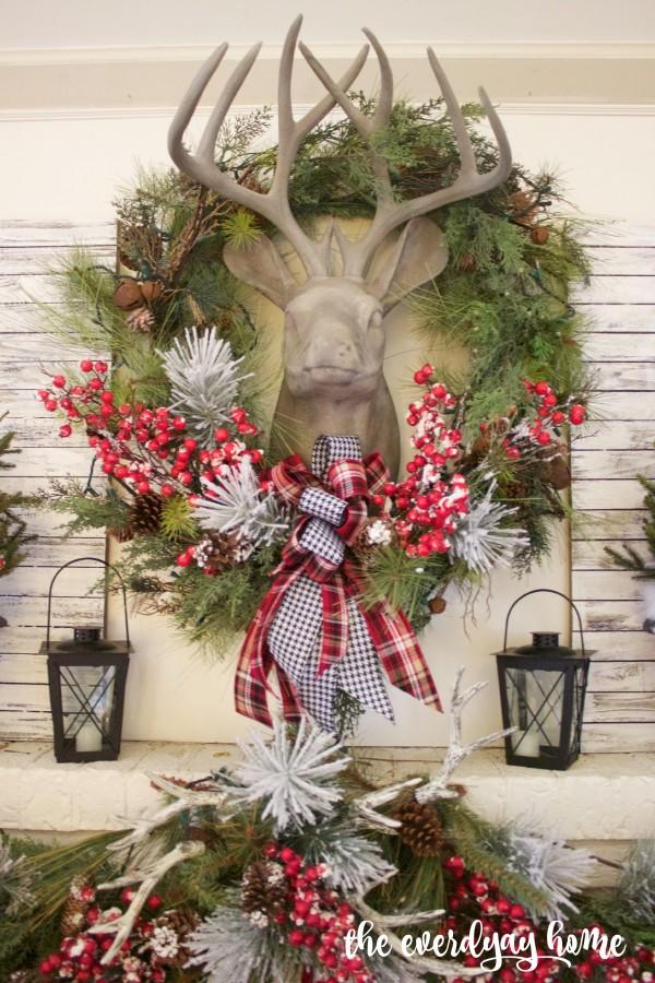Plaid and Berry Christmas Mantel | The Everyday Home Blog | www.everydayhomeblog.com