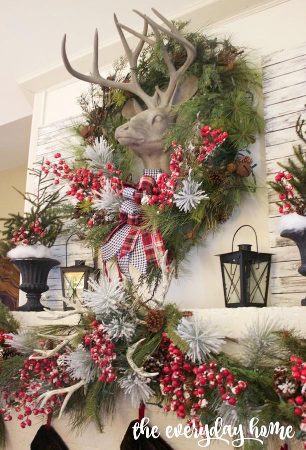 Plaid and Berry Christmas Mantel | The Everyday Home | www.everydayhomeblog.com