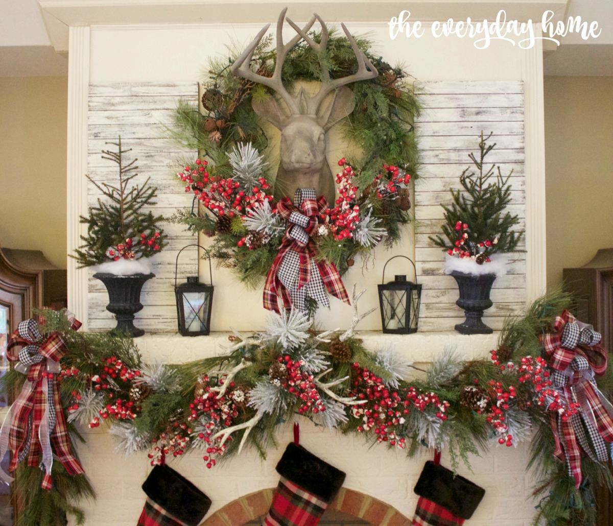 tartan plaid and berry christmas mantel the everyday home