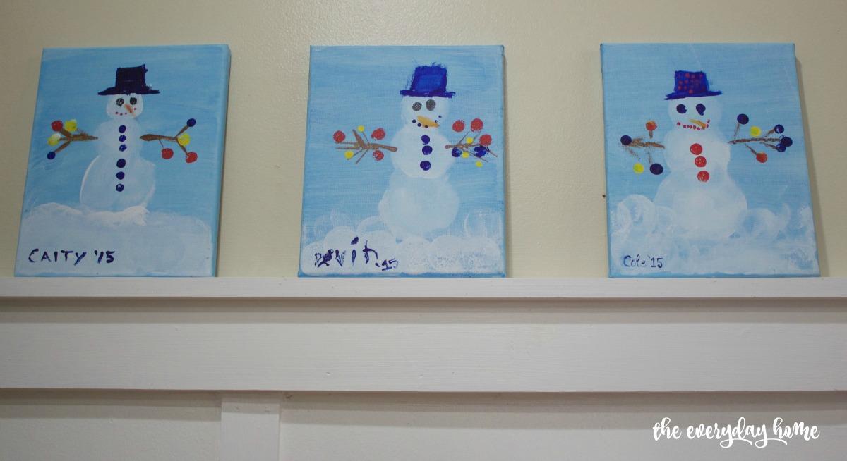 Snowmen Paintings   2015 Christmas Home Tour   The Everyday Home   www.everydayhomeblog.com