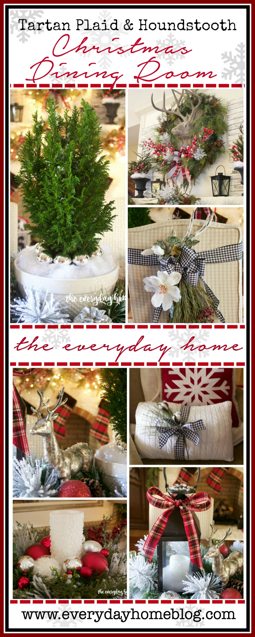 Tartan Plaid & Houndstooth Christmas Dining Room | 2015 Christmas Tour | The Everyday Home | www.everydayhomeblog.com