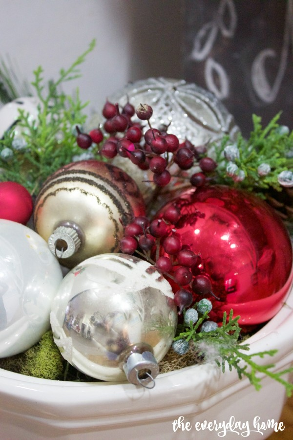 White Ironstone Bowl with Ornaments | 2015 Christmas Home Tour | The Everyday Home | www.everydayhomeblog.com