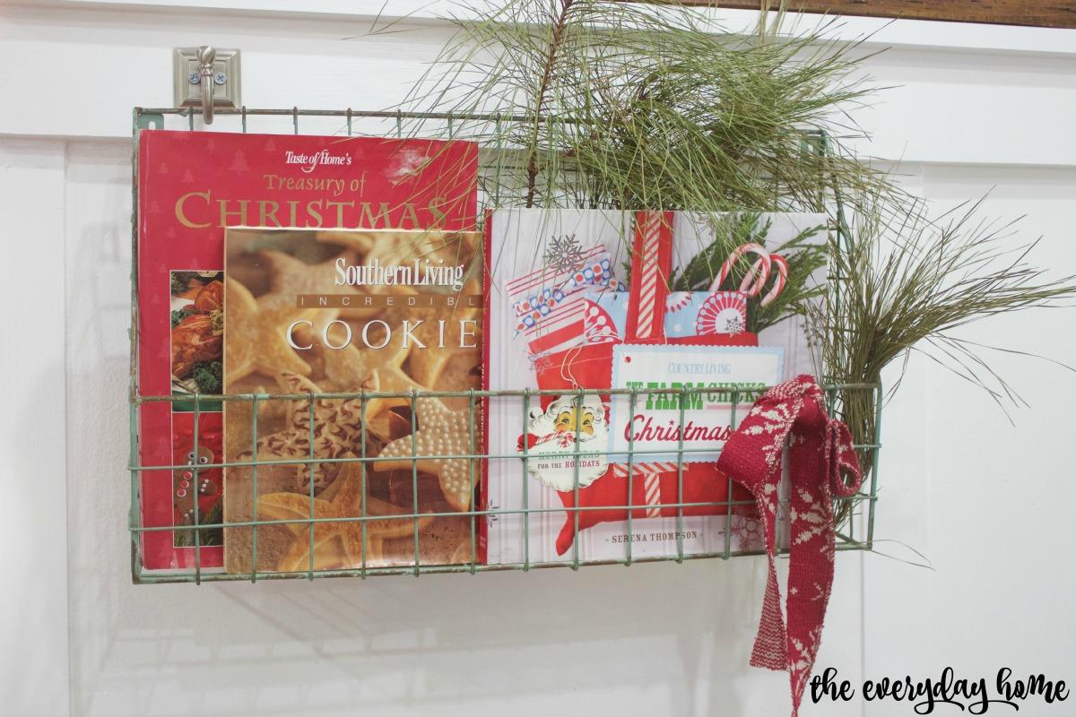 Wire Basket with Cookbooks   2015 Christmas Home Tour   The Everyday Home   www.everydayhomeblog.com