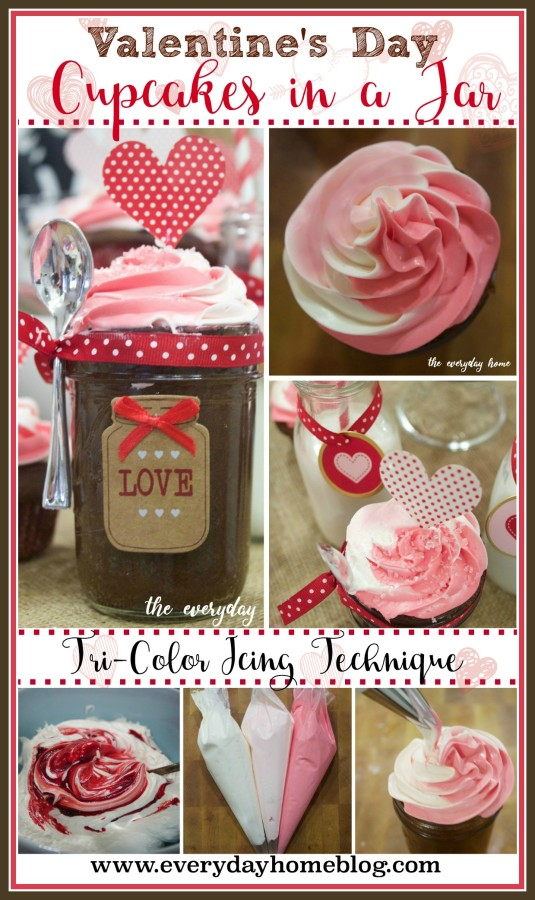 Valentine's Day Mason Jar Cupcakes | The Everyday Home | www.everydayhomeblog.com