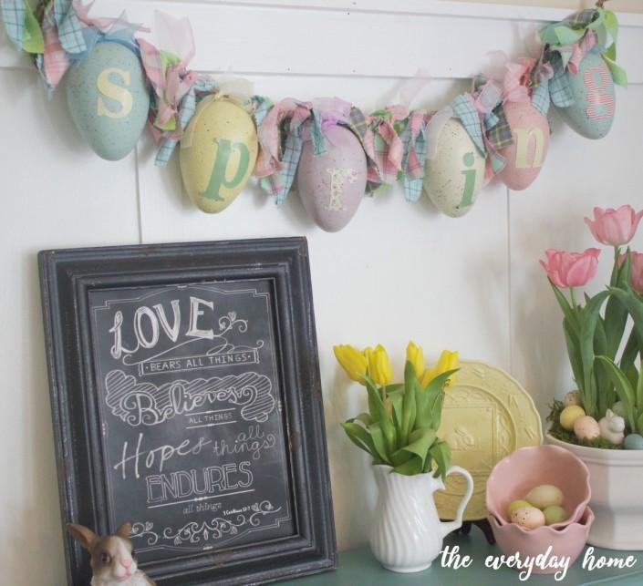 Spring Egg Garland   The Everyday Home   www.everydayhomeblog.com