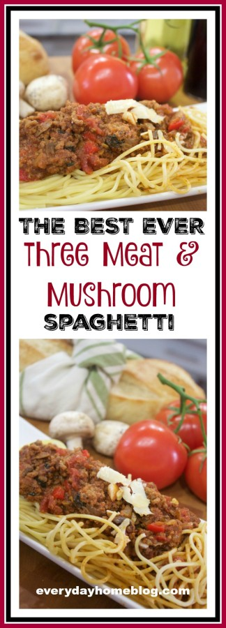 Three Meat Mushroom Spaghetti Recipe | The Everyday Home | www.everydayhomeblog.com