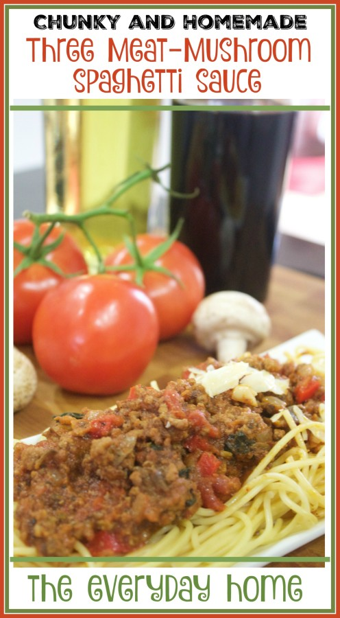 Three Meat & Mushroom Spaghetti Sauce | The Everyday Home | www.everydayhomeblog.com