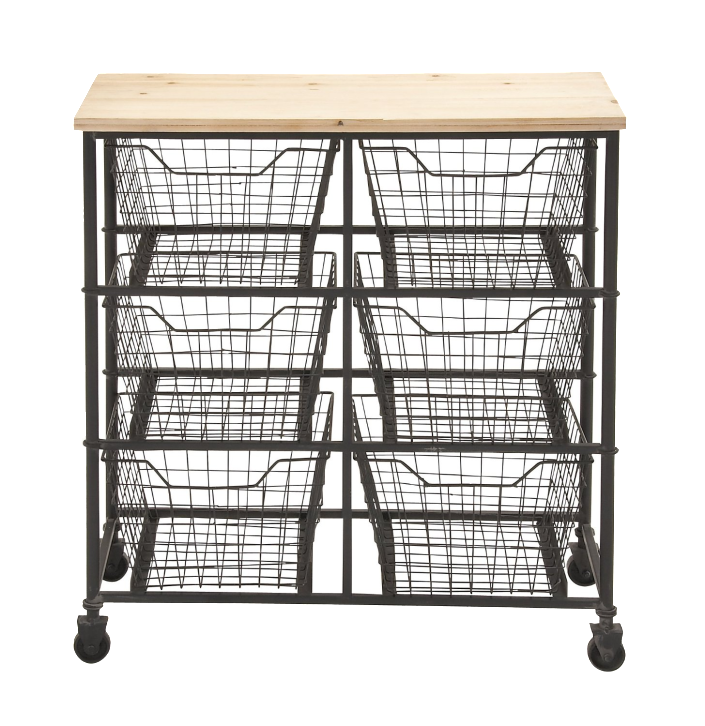 Wood Cart with Wire Baskets | The Everyday Home