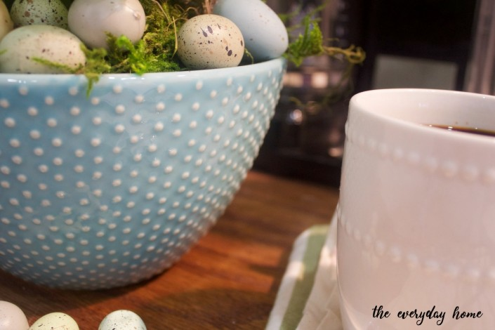 Blue Farmhouse Bowl with Eggs and Book Page Bunny | The Everyday Home