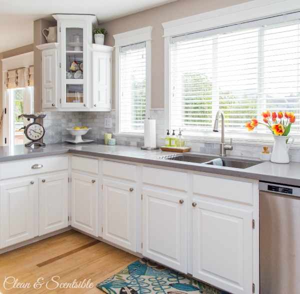Share It One More Time #22 White-Kitchen-from-Clean-and-Scentsible-3 shared at www.onemoretimeevents.com