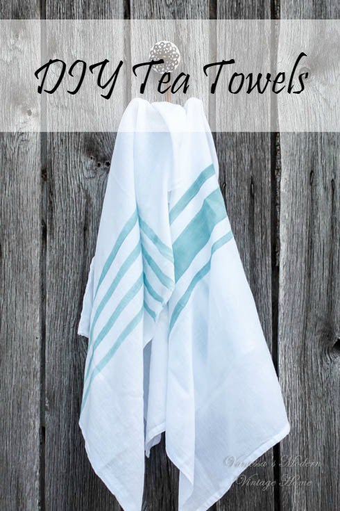 Share It One More Time #22 DIY Tea Towels by Vanessa's Modern Vintage Home shared at www.onemoretimeevents.com