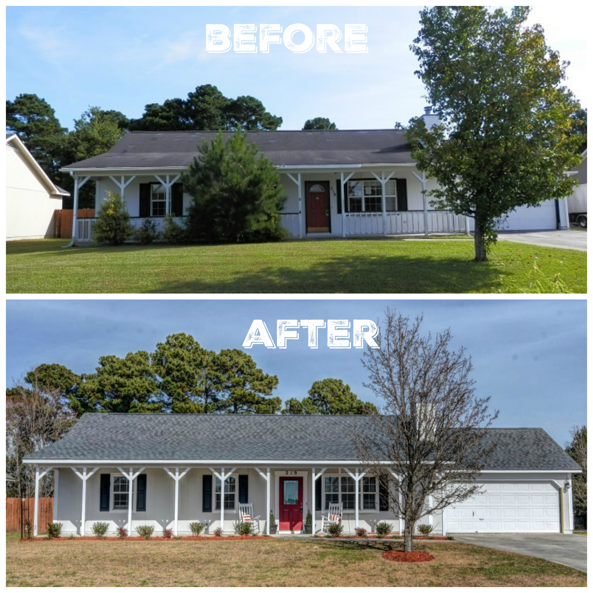 Before and after fixer upper the everyday home for Exterior of homes before and after renovation
