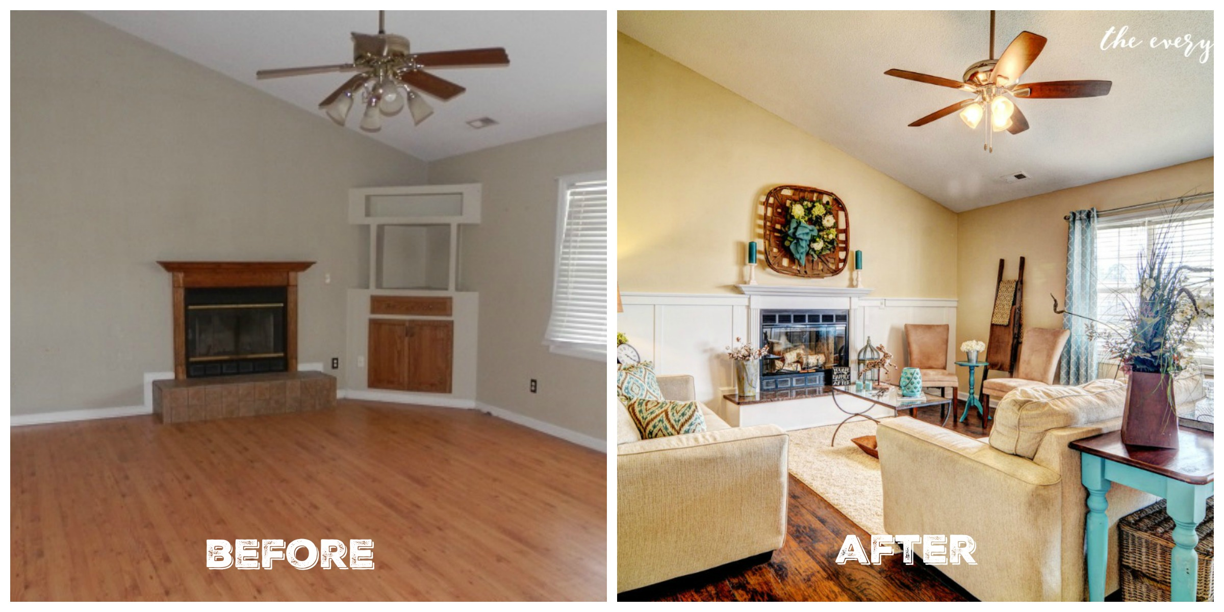 Before & After Living Room Flip House Reveal The Everyday Home