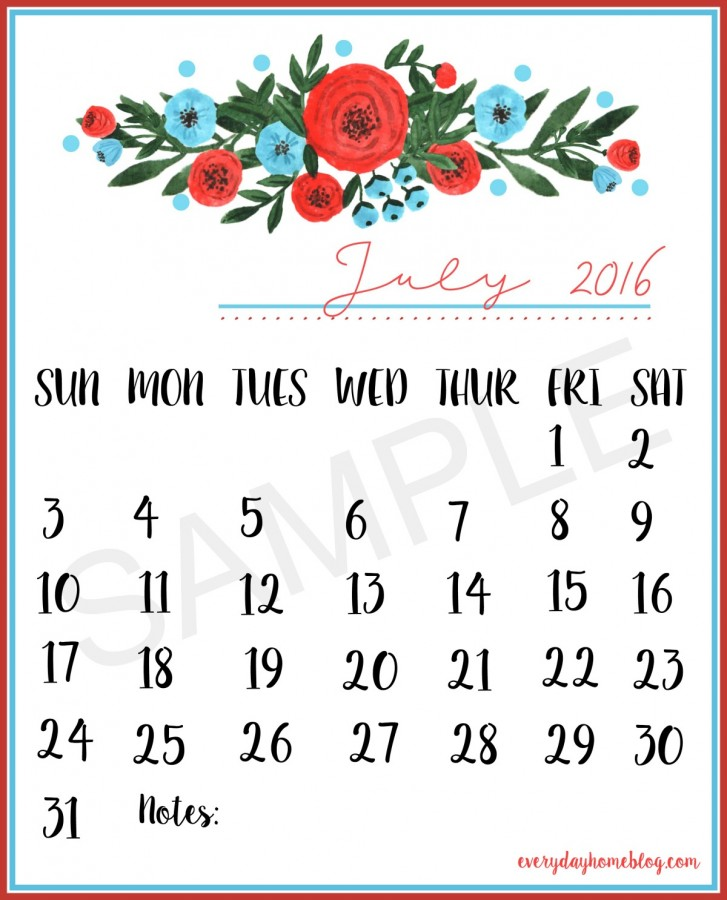 July 2016 Calendar Sample