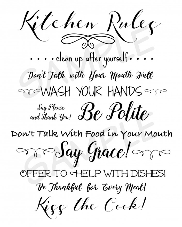 Kitchen Printables Sample