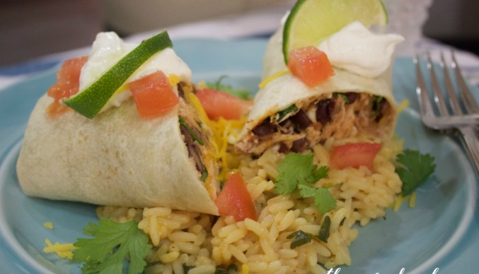 Chicken and Black Bean Burritos and Rice