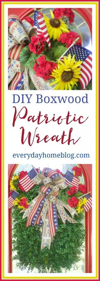 DIY Patriotic Boxwood Wreath   The Everyday Home Blog