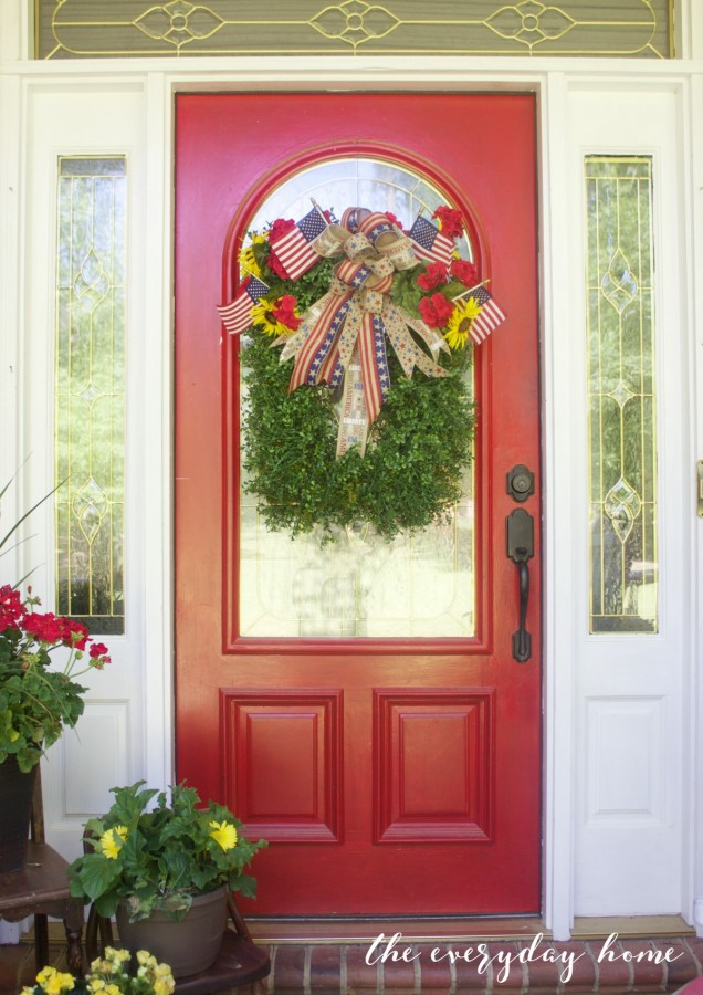 Southern Red Door with Americana Wreath   The Everyday Home