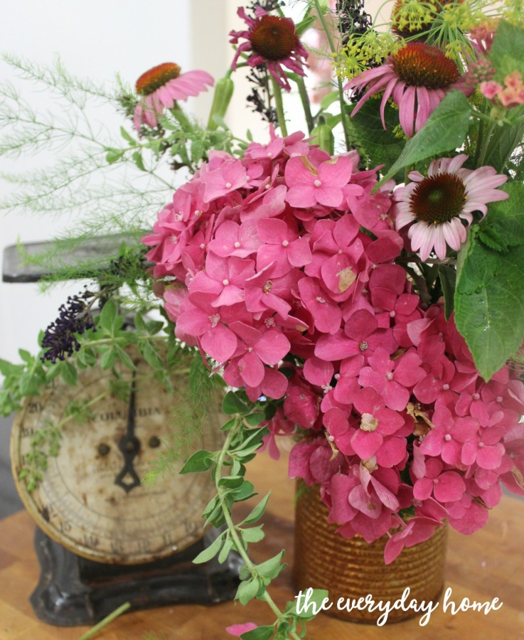 English Flowers in a Rusty Can | The Everyday Home | www.everydayhomeblog.com