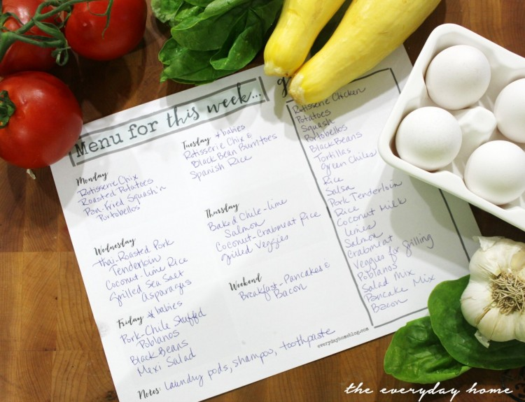 Menu Planner Printable | The Everyday Home